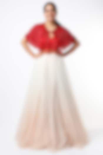 Red Tulle Capelet With Fringes by SHRIYA SOM