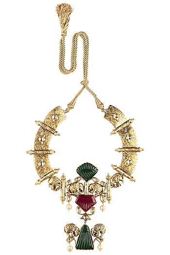 Antique Gold Plated Red and Green Onyx Necklace by Symetree