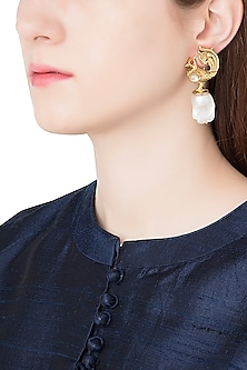 Antique Gold Plated Zircon and Pearl Drop Earrings by Symetree