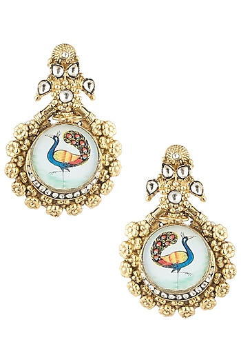 Antique Dual Plated Peacock Motif Zircon Earrings by Symetree