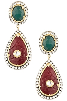 Antique Dual Plated Zircon and Red Quartz Earrings by Symetree