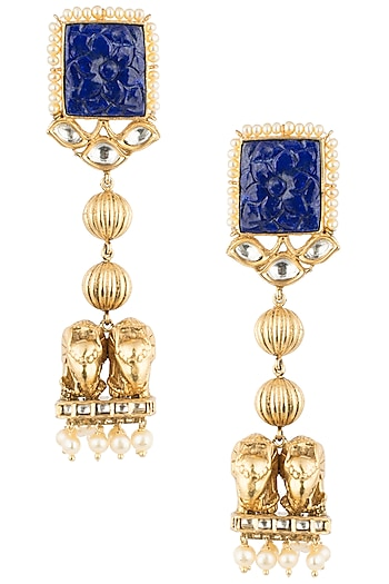 Antique Gold Plated Zircon, Lapis Lazuli and Pearl Earrings by Symetree