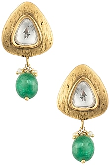 Antique Gold Plated Zircon and Green Onyx Drop Earrings by Symetree