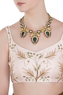 Gold Plated Green Aventurine and Pearl Embellished Necklace by Symetree