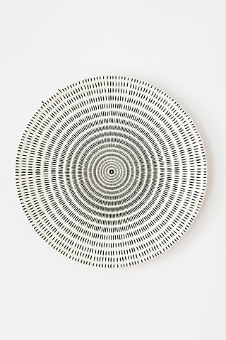 White & Black Dinner Plate With Dots by Table Manners