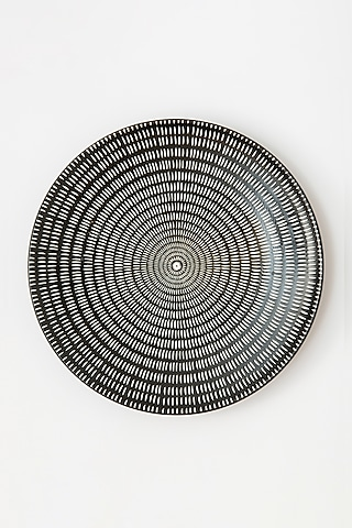 Black & White Dinner Plate With Dots by Table Manners