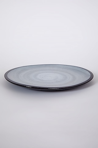 Black Porcelain Marble Textured Plate by Table Manners