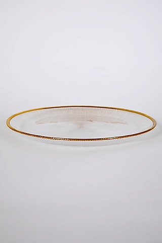 Gold Rimmed Glass Plate by Table Manners