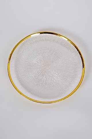 Gold Rimmed Glass Dessert Plate by Table Manners