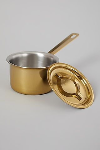 Gold Finish Mini Saucepans With Lid (Set of 6) by Table Manners