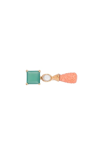 Gold Finish Green Onyx & Carved Coral Stone Ring by Tanvi Garg