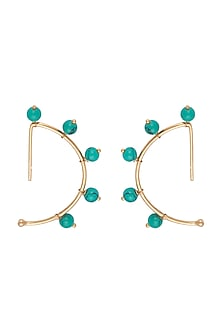 Gold Finish Turquoise Stones Earrings by Tanvi Garg