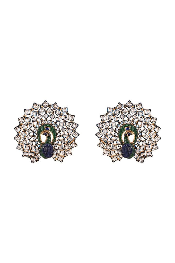 Gold Finish Real Kundan & Semi-Precious Stones Meenakari Earrings by Tanvi Garg