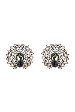 Gold Finish Real Kundan & Semi-Precious Stones Meenakari Earrings by Tanvi Garg