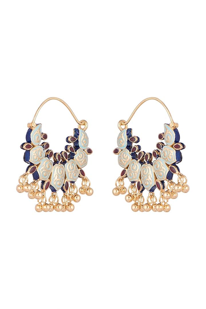 Gold Finish Meenakari Kundan Bali Earrings by Tanvi Garg