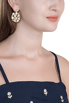 Gold Finish Kundan Handcrafted Earrings by Tanvi Garg