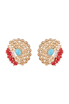 Gold Finish Corals, Pearls & Turquoise Stones Handcrafted Stud Earrings by Tanvi Garg