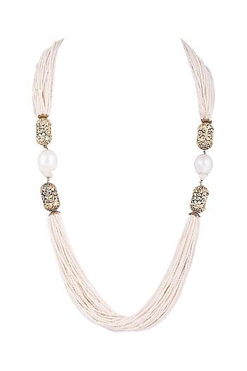 Gold Finish Pearls & Antique Beads String Necklace by Tanvi Garg