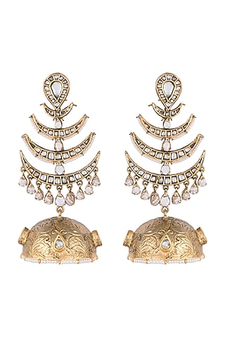 Gold Finish Real Kundan Handcrafted Earrings by Tanvi Garg