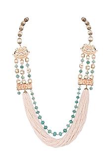 Gold Finish Semi-Precious Stones String Necklace by Tanvi Garg