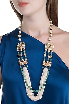 Gold Finish Semi-Precious Stones String Necklace by Tanvi Garg