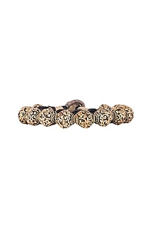 Gold Finish Metal Balls Antique Bracelet by Tanvi Garg