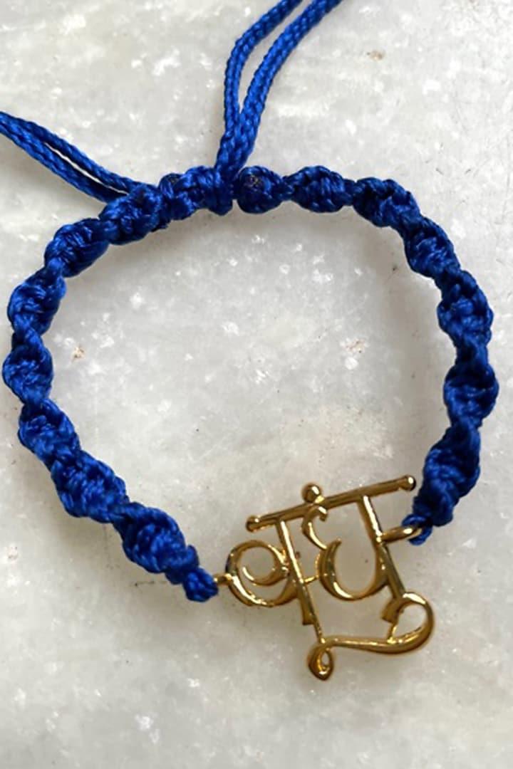 Navy Blue Bandhu Thread Rakhi by Tanvi Garg