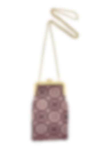 Purple Silk Banarasi Brocade Mini Clutch Sling Bag by That Gypsy