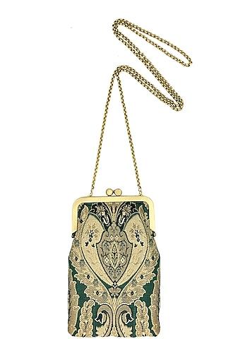 Green & Beige Mini Clutch Sling Bag by That Gypsy