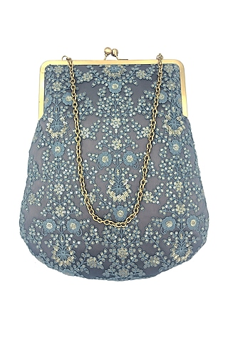 Grey Green Embroidered Purse by That Gypsy