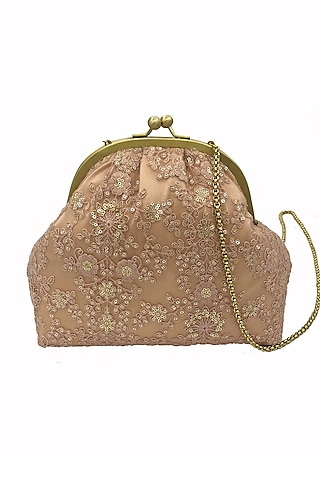 Peach Embroidered Potli Purse by That Gypsy