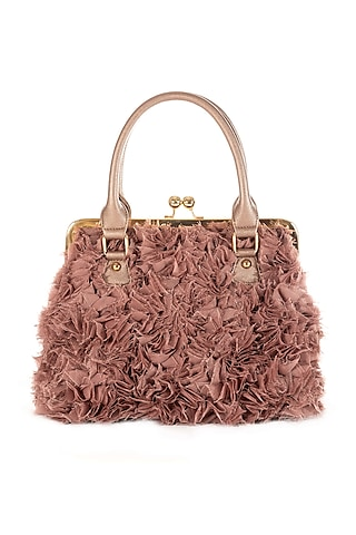 Blush Pink Embroidered Net Bag by THAT GYPSY