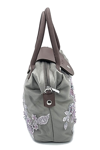 Grey Floral Embroidered Bag by THAT GYPSY