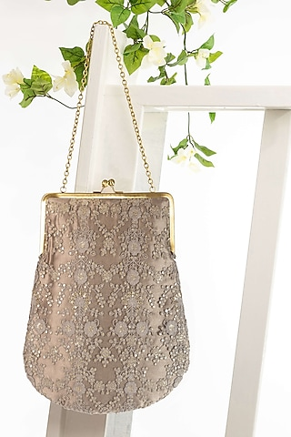 Silver Floral Embroidered Bag With Chain by THAT GYPSY