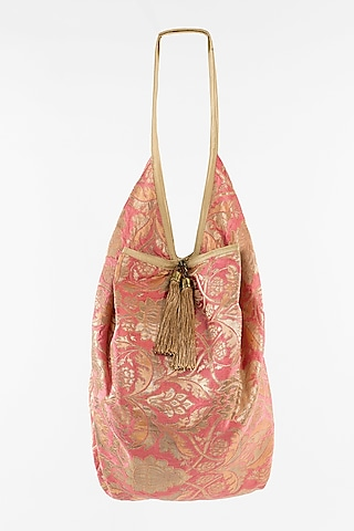 Blush Pink Jhola Bag With Tassels by THAT GYPSY