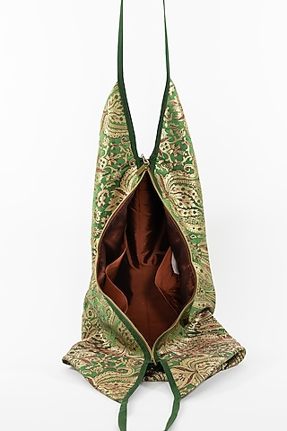 Emerald Green Jhola Bag With Tassels by THAT GYPSY