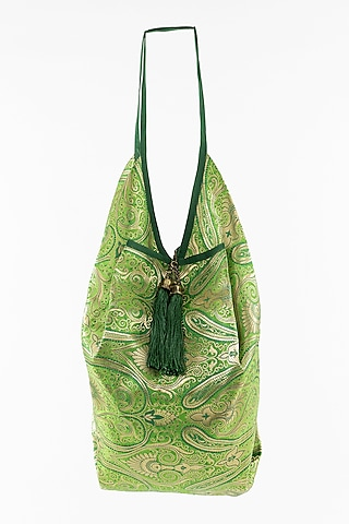 Mint Green Jhola Bag With Tassels by THAT GYPSY