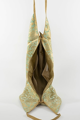 Mint Green Banarasi Jhola Bag With Tassels by THAT GYPSY