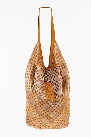 Orange Jhola Bag With Tassels by THAT GYPSY