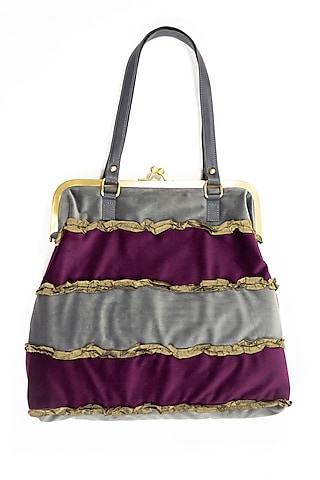 Purple Brass Frame Jhola Bag With Ruffles by THAT GYPSY
