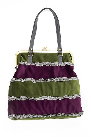 Purple Jhola Bag With Ruffles by THAT GYPSY