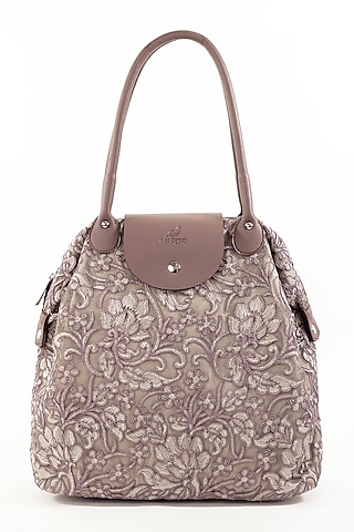 Mauve Lace & Net Bag With Sparkle by THAT GYPSY