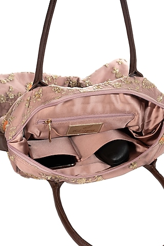 Blush Pink Lace & Net Embroidered Bag by THAT GYPSY