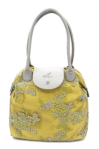 Lime Green Embroidered Bag by THAT GYPSY