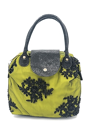 Lime Green Embroidered Lace Bag by THAT GYPSY