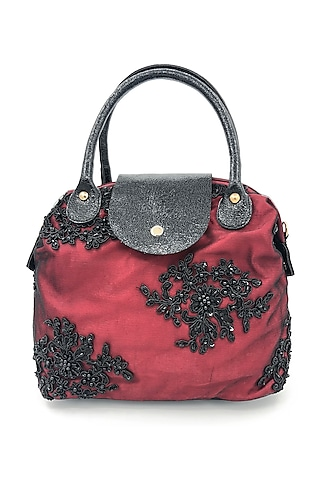 Red Embroidered Lace Bag by THAT GYPSY