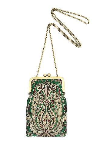 Green Silk Banarasi Brocade Mini Clutch Sling Bag by That Gypsy