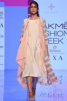 Off-White Embroidered Dress With Pink Overlayer & Striped Overlayer  by Tahweave