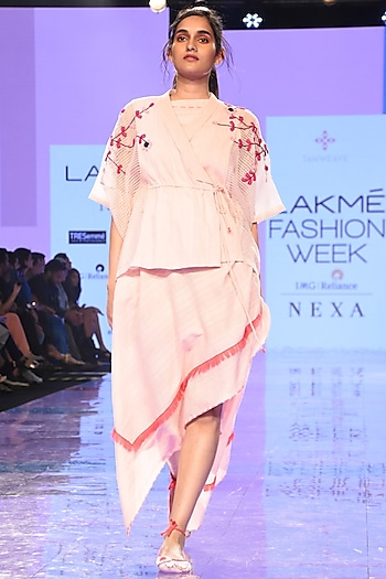 Pink Asymmetric Dress With Sheer Panel Top by Tahweave