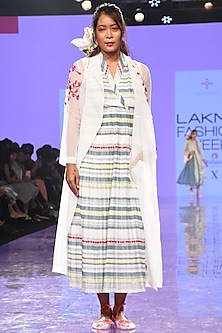 Multi-Colored Dress With Sheer Embroidered Trench Coat by Tahweave